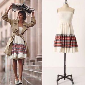 🎉HP🎉 Anthropologie Floreat Linen Strapless Dress